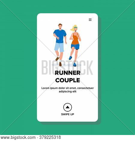 Runner Couple Young Man And Woman Sportsman Vector
