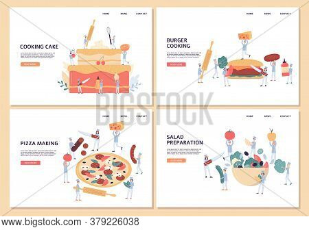 Website Pages Set For Takeaway Food With Tiny Chiefs Flat Vector Illustration.