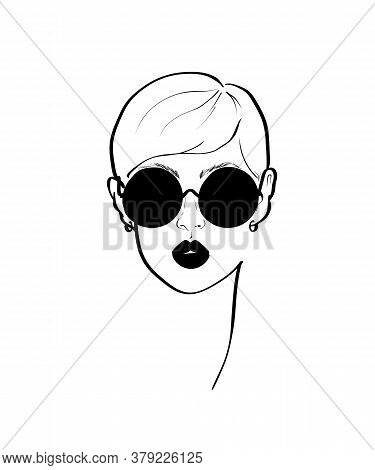 Fashion Monochrome Design Sketch Woman In Style Pop Art. Glamour Woman In Black Sunglasses Lips. Bla