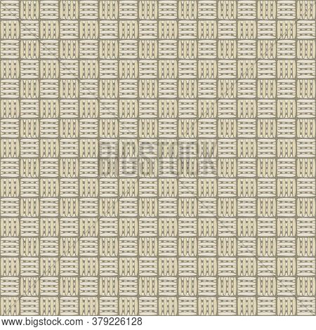 Vector Overlap Weave Grid In Gold Beige On Brown Seamless Repeat Pattern. Background For Textiles, C