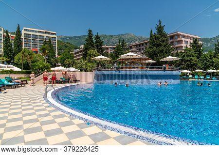 Becici, Montenegro - June 8. 2019. Swimming Pool On Site Of Iberostar Resort