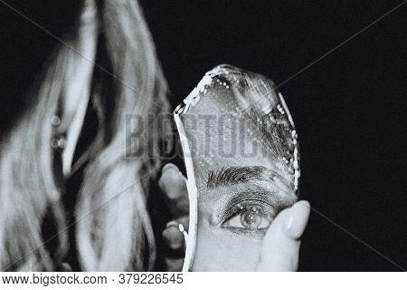 Retro Black And White Portrait Of Woman And Broken Self-image Mirror