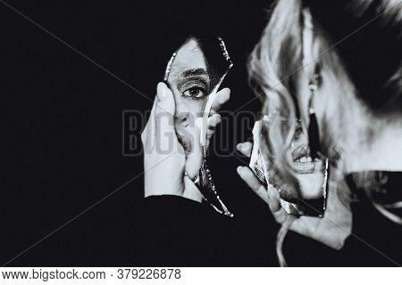 Retro Girl And Broken Self-image Mirror, Black And White Portrait