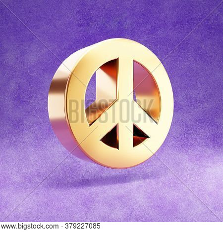 Peace Icon. Gold Glossy Peace Symbol Isolated On Violet Velvet Background. Modern Icon For Website,