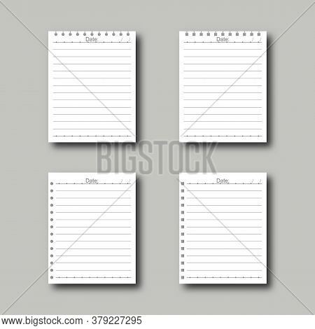 Realistic White Blank Lined Papers With Lines. Copybook Paper Sheets For Text Or Message With Date O
