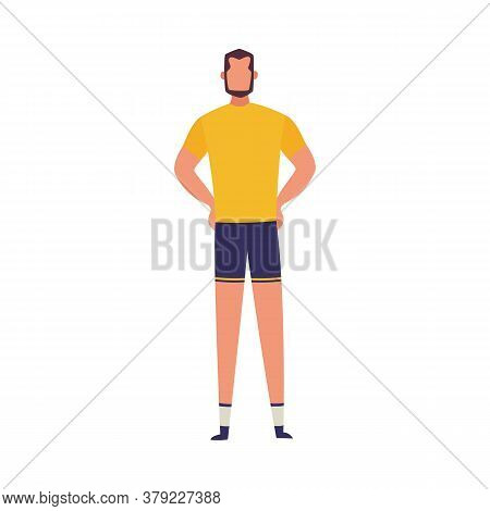 Man Character - Sportsman Or Personal Coach, Flat Vector Illustration Isolated.