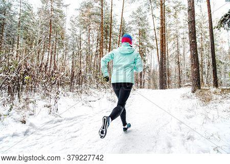 Back Female Runner Run Winter Forest Trail Race