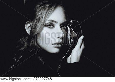 Attractive Woman With Broken Self-image Mirror, Retro Black And White Portrait