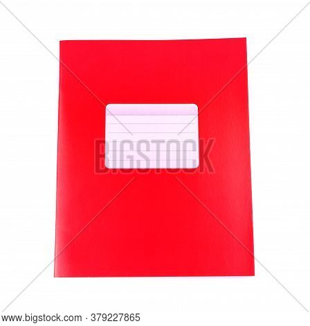 Red Notebook Isolated On A White Background. School Education. Copy Space. Place For Text.