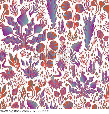 Vintage Bright Abstract Psychedelic Plants Seamless Pattern, Vivid Gradient Violet Blue Color, Red O