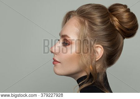 Beautiful Woman With Updo Hair, Female Profile