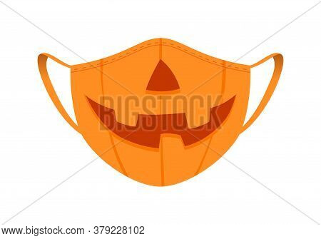 Halloween Mask - Covid-19 Medical Mask With Funny Design - Pumpkin With Nose And Smile.