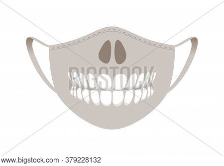 Halloween Mask - Covid-19 Medical Mask With Funny Design - Skull Nose And Teeth.