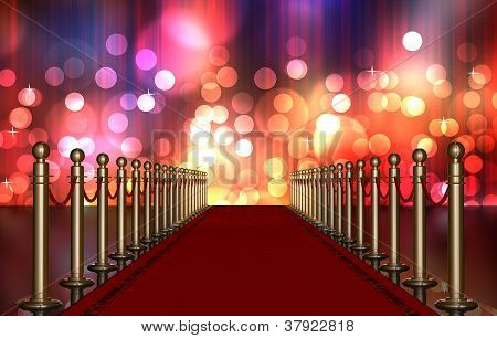 red carpet entrance with the stanchions and the ropes. Multi Colored Light Burst over curtain poster