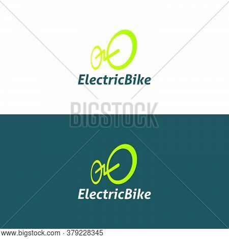 Electric Bicycle Logo Made From Bright Green Gradient Lines. Modern, Simple, Clean, Fun, And Profess