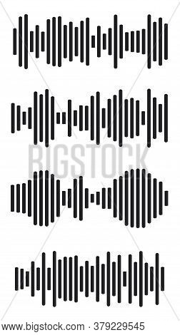 Equalizer Charts Icon Set. Music Signal Frequency Silhouette Collection. Abstract Waves Diagram. Sou
