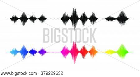 Sound Wave. Silhouette And Rainbow Colours Waveform. Frequency Amplifier Illustration. Audio, Diagra