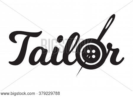 Tailor Sewing Needle In Sewing Button Logotype. Tailor Logo Template Vector Symbol