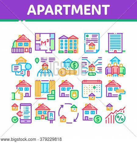 Apartment Building Collection Icons Set Vector. Apartment Floor Plan Architectural Project And House