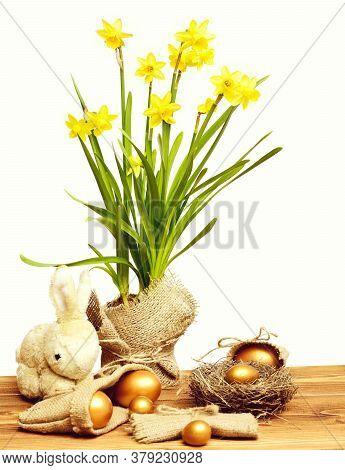 Rabbit, Spring Yellow Narcissus, Golden Easter Egg In Burlap Sack