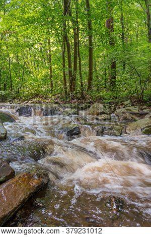 The Roaring Rocks Stream In Warren County New Jersey On A Nice Summer Day.