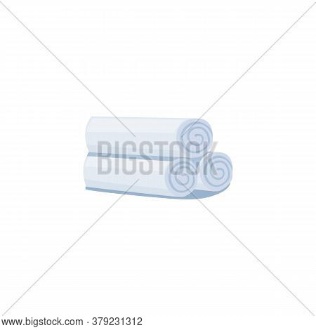 Pile Rolled Fluffy Soft White Rolled Towels, Flat Vector Illustration Isolated.