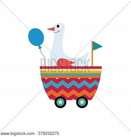 White Goose In Children Railroad Carriage, Flat Vector Illustration Isolated.