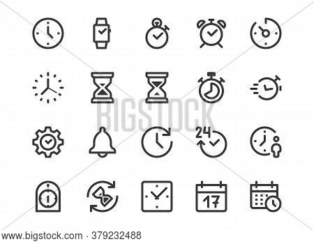 Time, Clock Line Icon. Minimal Vector Illustration. Included Simple Outline Icons As Watch, Stopwatc