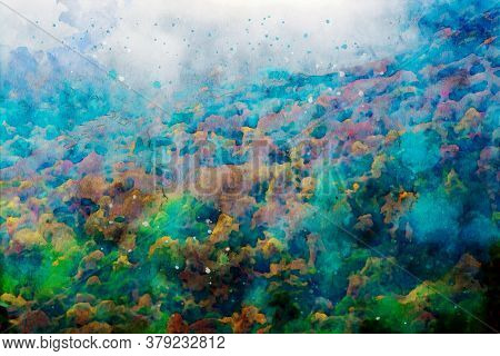 Abstract Painting Of Trees In Fall Season, Nature In Autumn Landscape Image, Digital Watercolor Illu