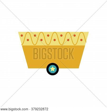 Toy Wagon Or Railroad Cart Cartoon Icon, Flat Vector Illustration Isolated.