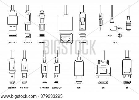 Usb, Hdmi, Ethernet And Other Cable And Port Icon Set With Plugs