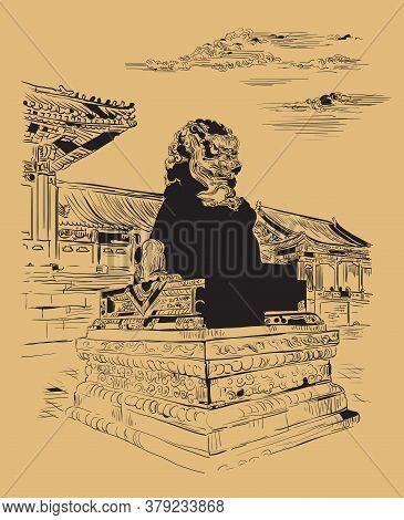 Big Bronze Lion In Forbidden City In Beijing, Landmark Of China. Monochrome Hand Drawn Vector Sketch