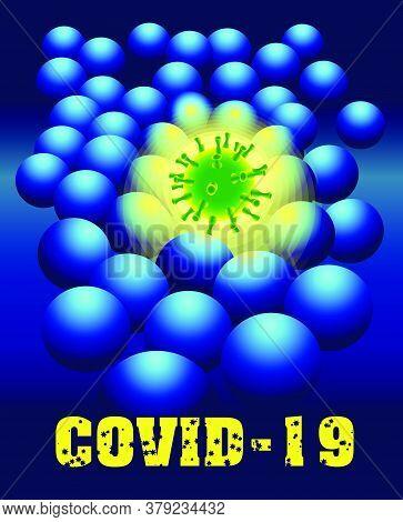 Vector Illustration Of A Coronavirus Bacterium And Group Of Balls. Coronovirus Spread Concept. The I