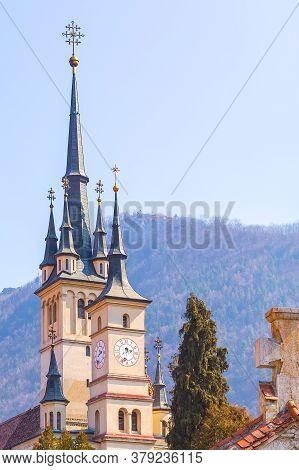 Brasov, Romania Clock Tower Of Saint Nicholas Or Sf. Nicolae Church In Transilvania