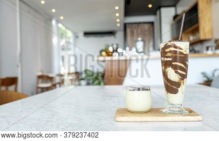 Avocado Smoothie Shake And Chocolate Or Cacao Flakes Dessert Drink For Vegan No Milk Mousse.