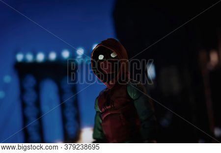 AUGUST 2 2020: Scene with Marvel comic superhero Spiderman Far From Home  - Hasbro Marvel Legends figure