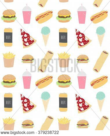 Vector Seamless Pattern Of Different Colored Hand Drawn Doodle Sketch Fast Food Isolated On White Ba
