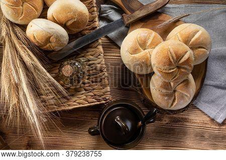 Fresh Bread For Breakfast. Shallow Depth Of Field.