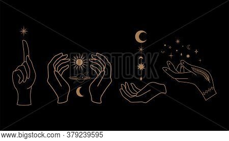 Mystical Celestial Illustration With Hands, Stars, Planets And Geometric Elements