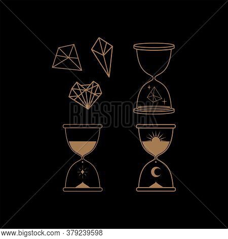 Hourglass With Celestial Bodies, Crystals And Mystical Elements. Vector Illustration In Boho Style.