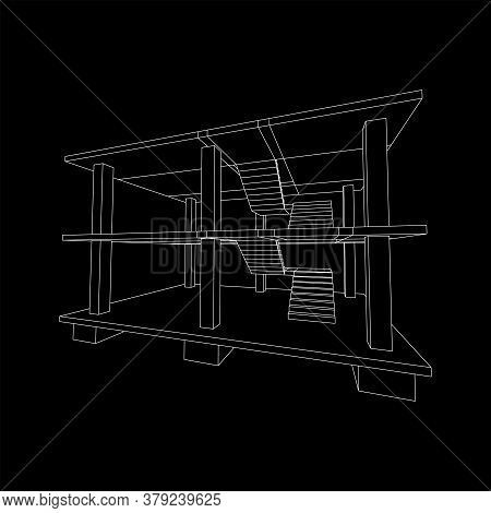 Building Under Construction. Build House Construct In Process. Wireframe Low Poly Mesh Vector Illust