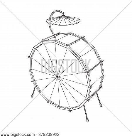 Musical Instruments Set. Rock Band Drum Kit. Percussion Musical Instrument Drums And Cymbal. Wirefra