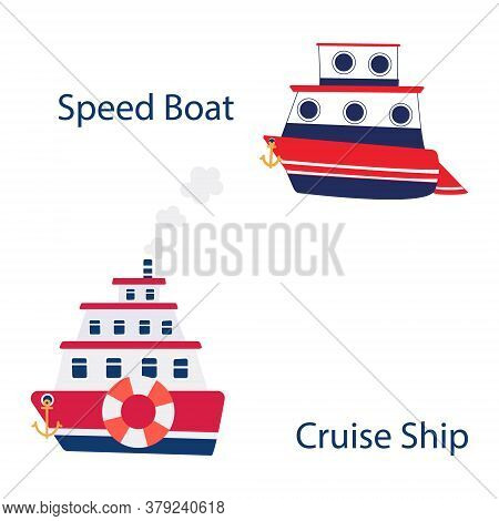 Three-tiered Cruise Ship With Lifebuoy And Anchor On Board. Steamboat With Portholes. Red And Blue T