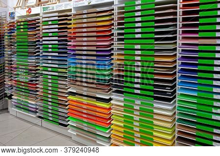 Sheets Of Colored Cardboard For Designer Creative Works.stacks Of Colored Drawing Paper In The Store