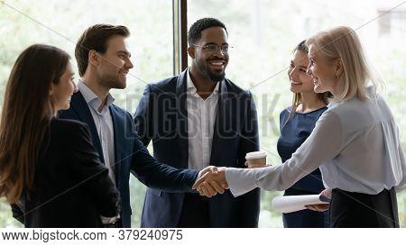 Middle Aged Businesslady Handshake Greeting Business Partner Express Respect