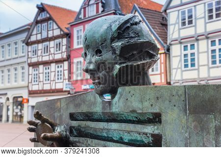 Celle, Germany - July 05, 2020: Sculpture On The Central Market Square Of Celle, Germany