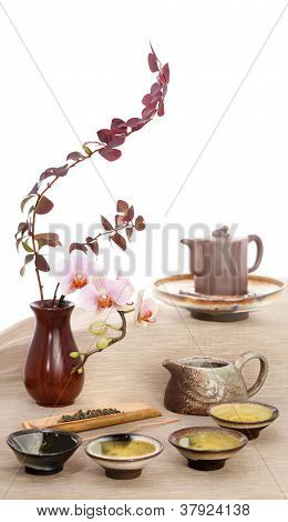 Green Tea And Flowers