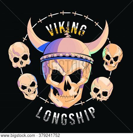 Vector Illustration Of A Skull With Viking Helmet Surrounded By Small Skulls On Black Background. He
