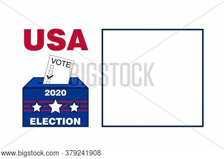 Blank White Background 2020 Usa American Election Voting Ballot Box Graphic With Red Blue Text Prese