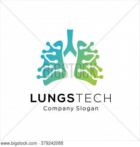 Human Lungs Logo Designs Template, Lungs Technology Logo Design Vector, Respiratory System Logo Desi